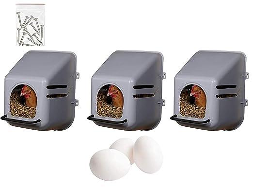 Pack 3 Ponederos para Gallinas + 3 Huevos Macizos. Ponedero de Pared 3 Huecos. Con Tornillos Incluidos. Nidos para Gallinas Ponedoras. Ponederos de Galinas de Plastico