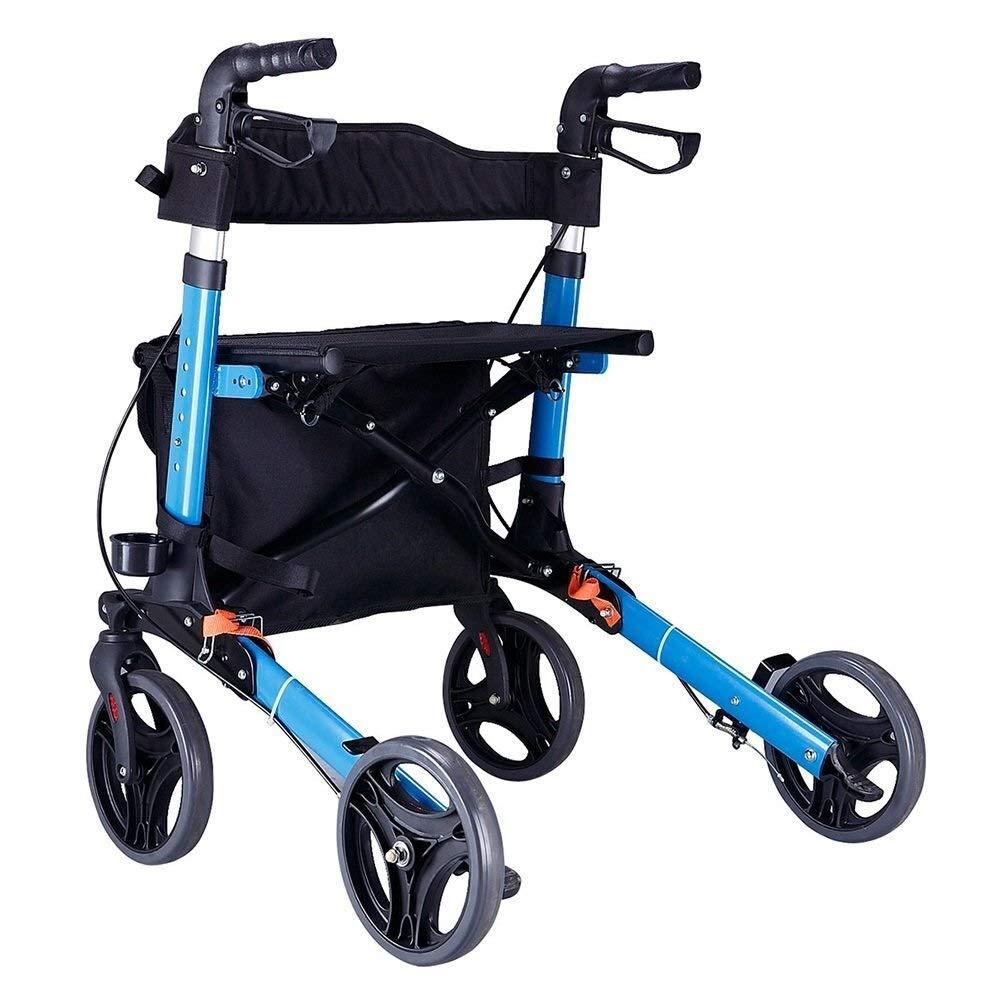 Rollator Walker Under Seat Storage Basket Height Adjustable Roller Double Safety Brake Auxiliary Walking Safety Walker (Color : Blue) by YL WALKER (Image #3)