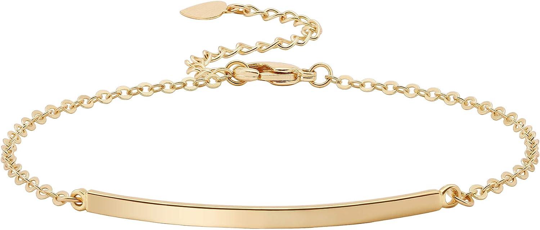 Dainty Gold Bar Bracelet for Women