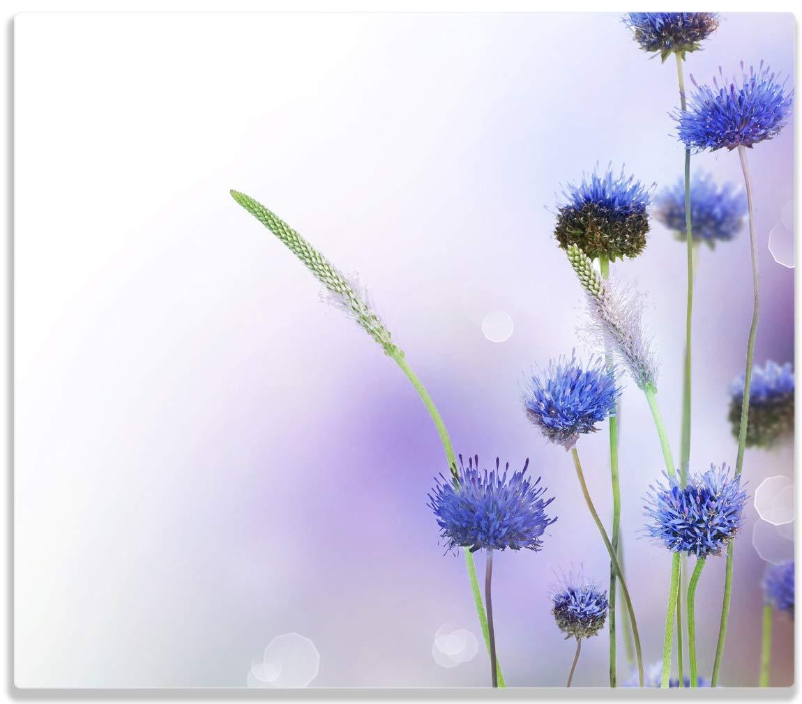 Wallario Herdabdeckplatte/Spitzschutz aus Glas, 1-teilig, 60x52cm, für Ceran- und Induktionsherde, Abstrakte lila Blume posterdepot