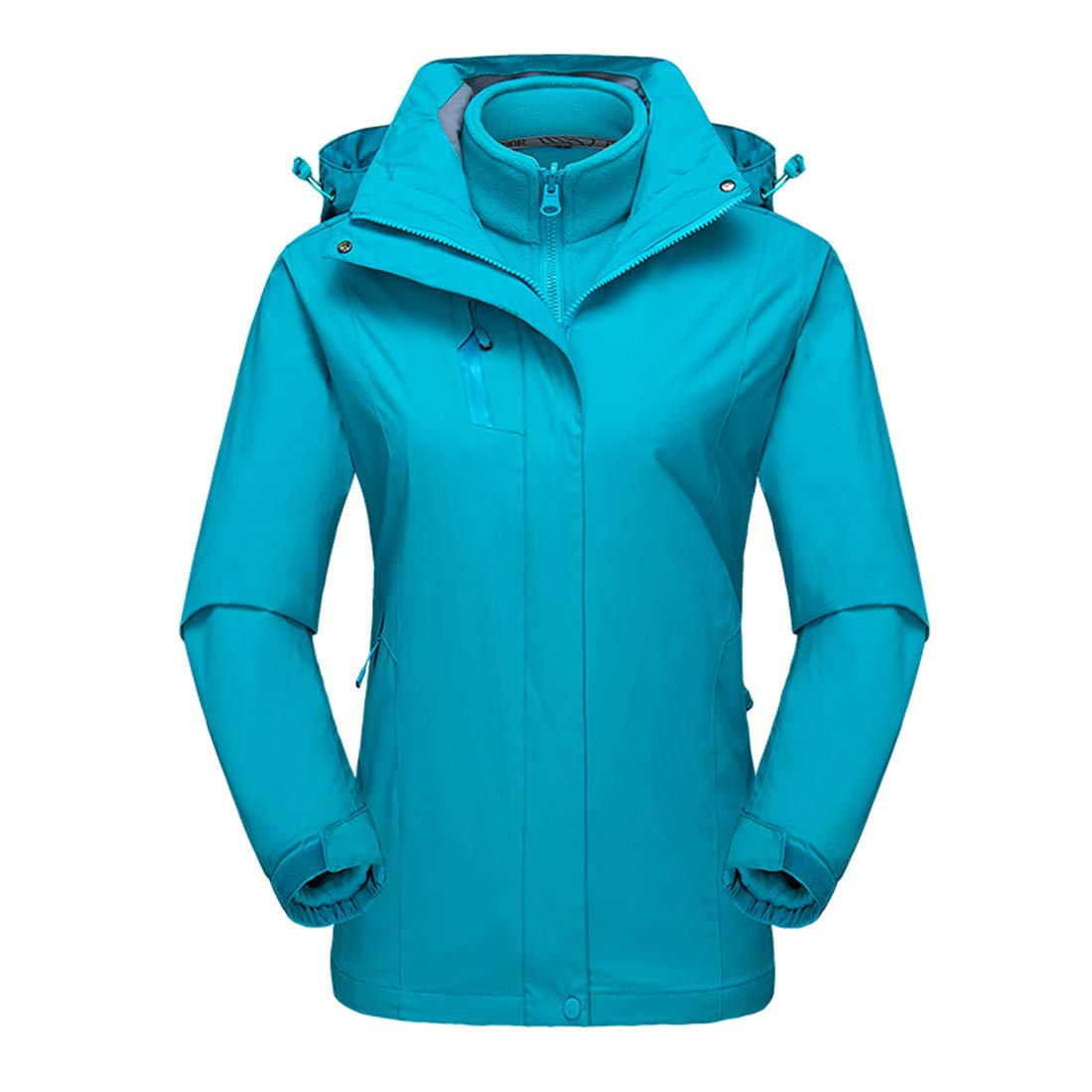 Light bluee US 2XL   Tag 3XL Alomoc Women's 3 in 1 Winter Hiking Jacket Waterproof Softshell Snowboard Coats with Hood