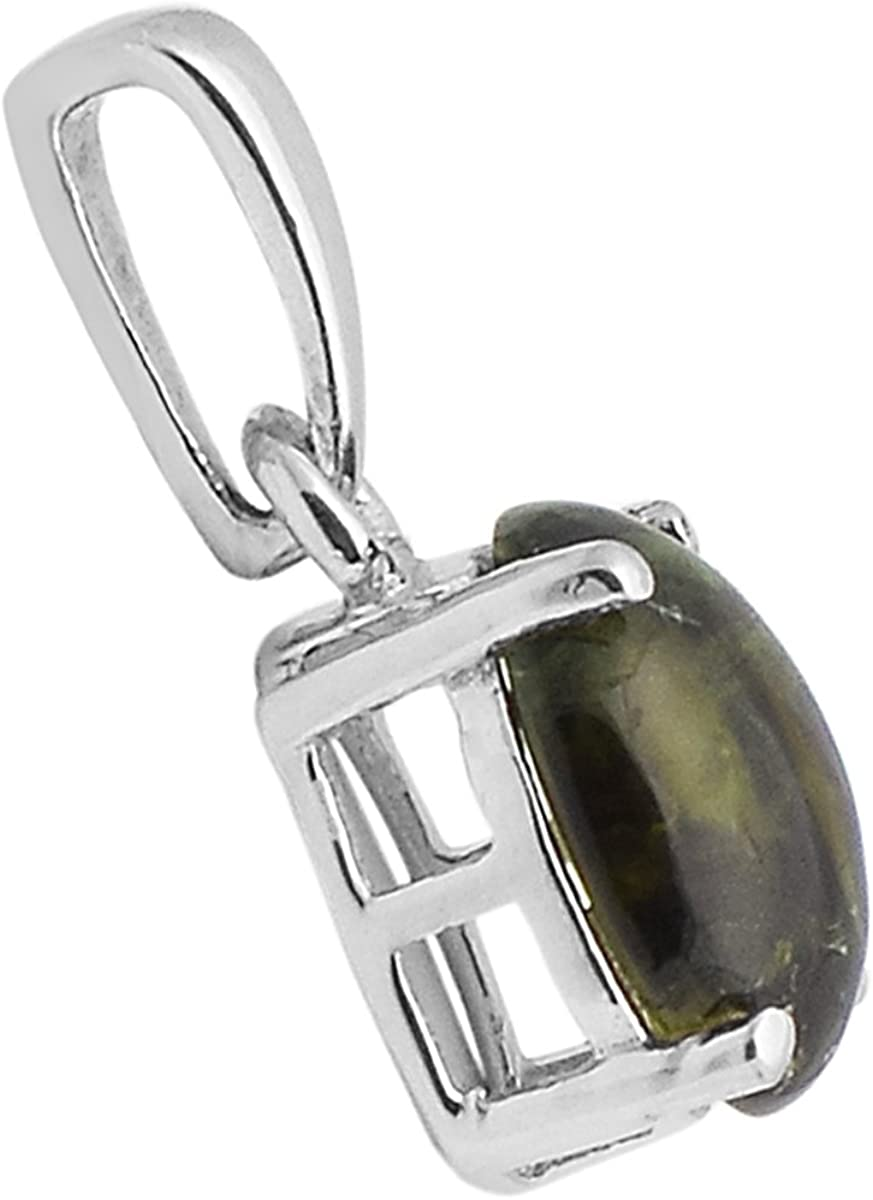 6X8 mm Oval Shape Green Tourmaline Gemstone 925 Sterling Silver Friendship Gift Pendant