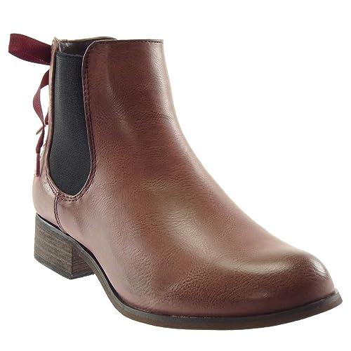Angkorly Zapatillas Moda Botines Chelsea Boots Mujer Nodo Encaje Talón Tacón Ancho 3 cm - Plantilla Forrada de Piel: Amazon.es: Zapatos y complementos