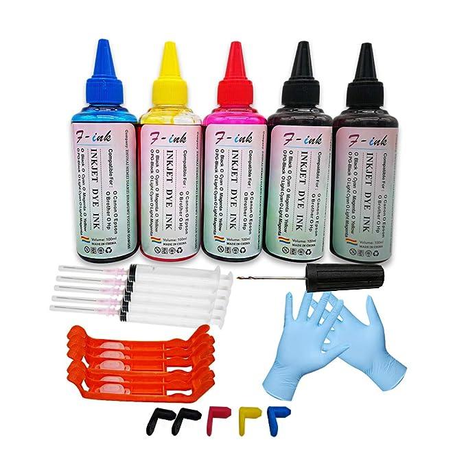 F-ink - Juego de 5 Botes de Tinta y Tinta de 100 ml compatibles ...