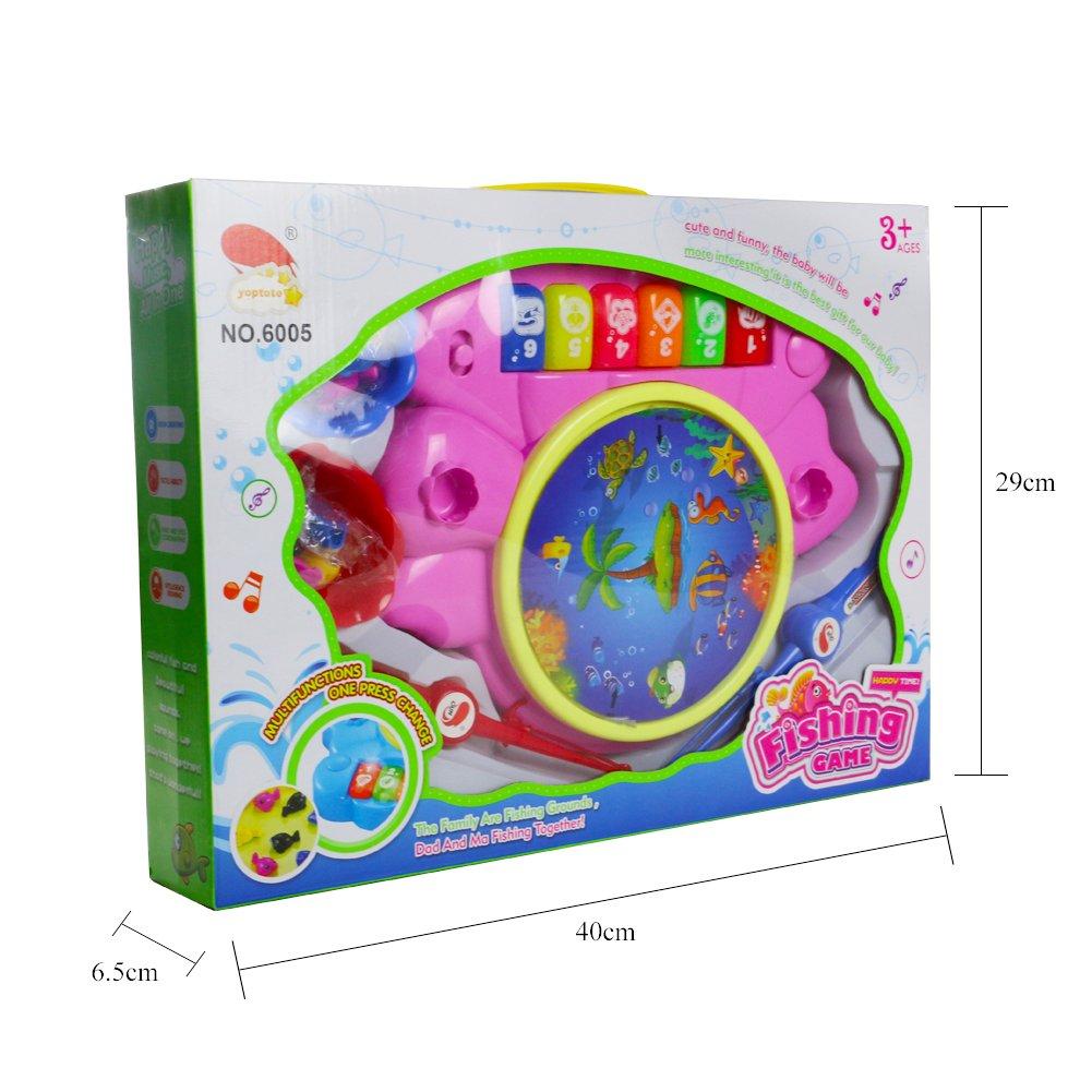 Giochi di Pesca Musicali Animali Giocattolo Tamburo Pianoforte Whac-A-Mole 6 in 1 Multifunzione Giocattoli per Bambini 3+