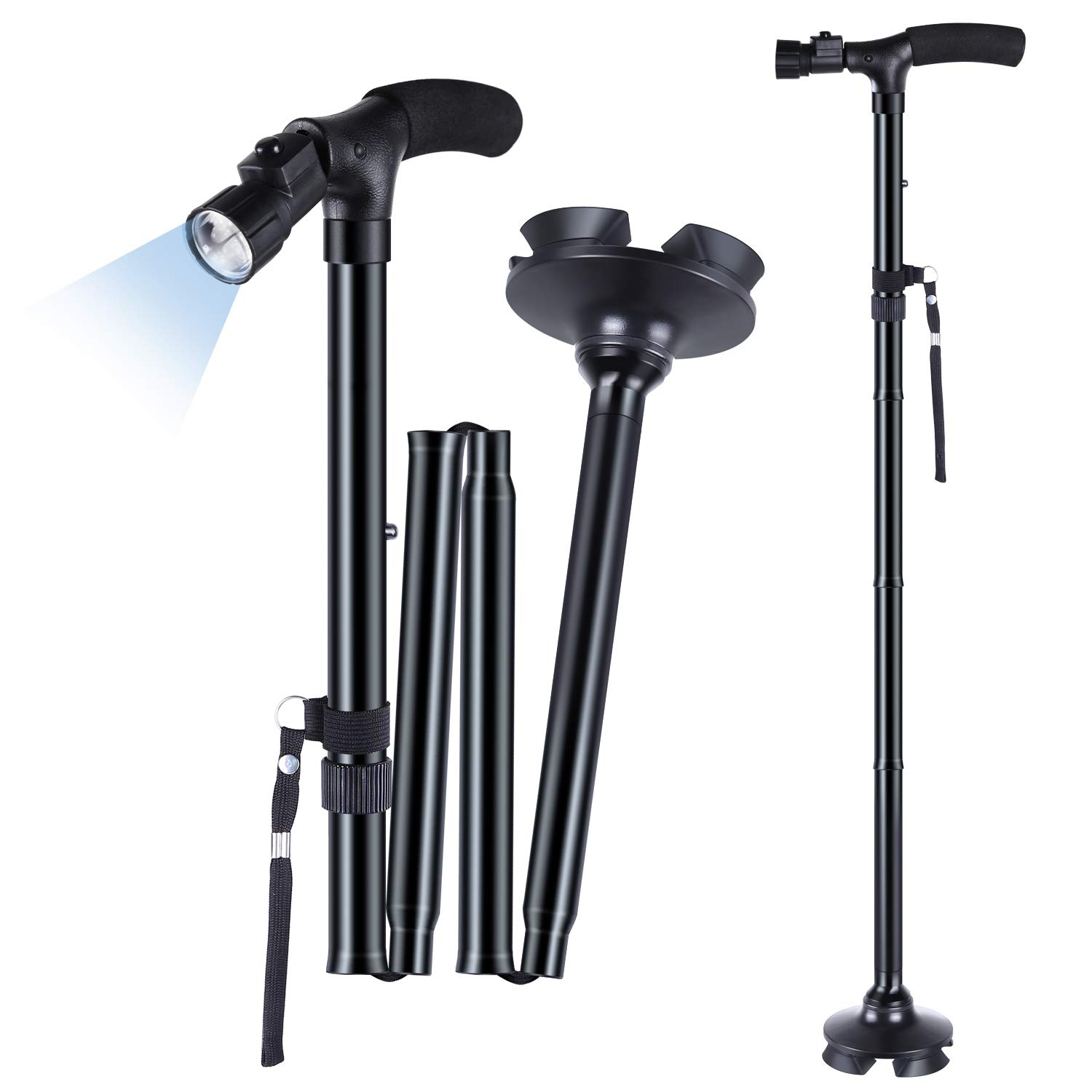 Ohuhu Folding Cane - Foldable Walking Cane for Men, Women, Walking Cane with LED Light, Adjustable Walking Stick with Carrying Bag for Fathers Mothers Gifts