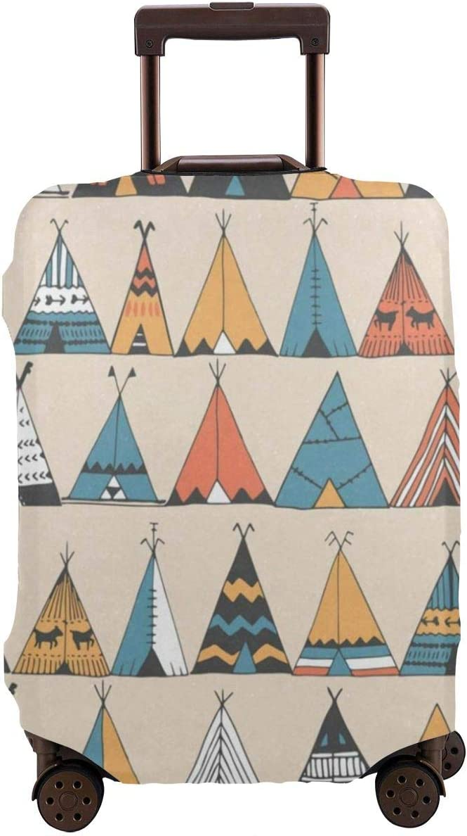 Teepee Pattern Luggage Cover Spandex Travel Suitcase Protector Elastic Stretchy XL Fits 29-32 inch luggage