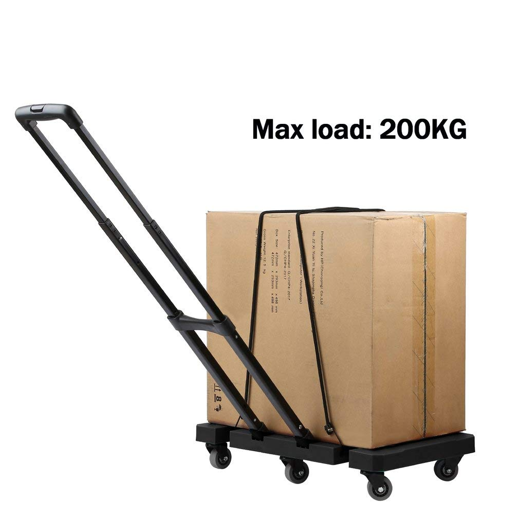 black Folding Stainless Steel Hand Luggage Cart Truck Trolley with 3-fold Adjustable Telescopic Handle,Extendable Flat,6 Wheels,200kg Capacity