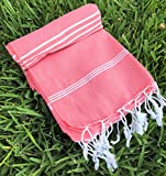 Peshtemal ( Aka Pestemal ) Blanket Light Weight Compact Best For Beach Park Picnic Camping Travel Outdoor Activities 100% Cotton Size 160 CM x 220 CM (63 inches X 86 inches) Button Blanket-Dark Coral