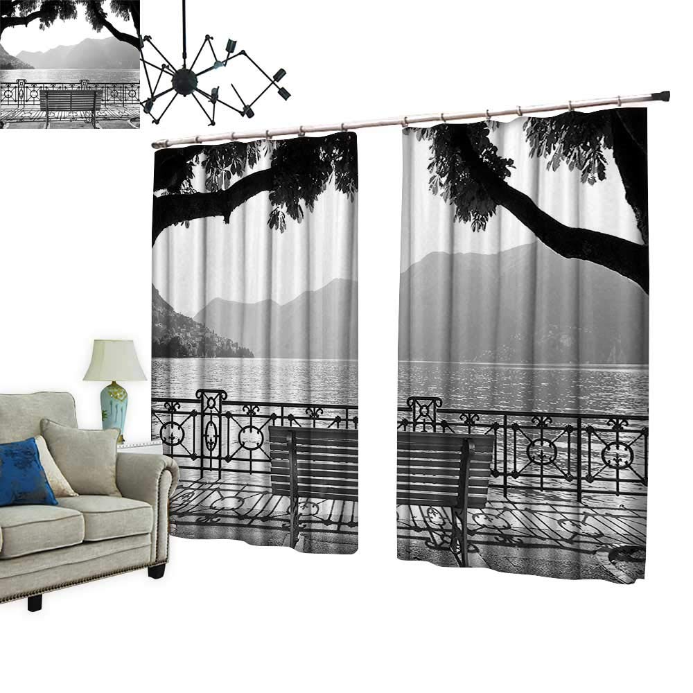 PRUNUS Curtain with Hook White Romantic Scene Bench by The Lake Outdoors Trees Empty Park View Mountains Blackout Draperies for Bedroom,W120 xL108