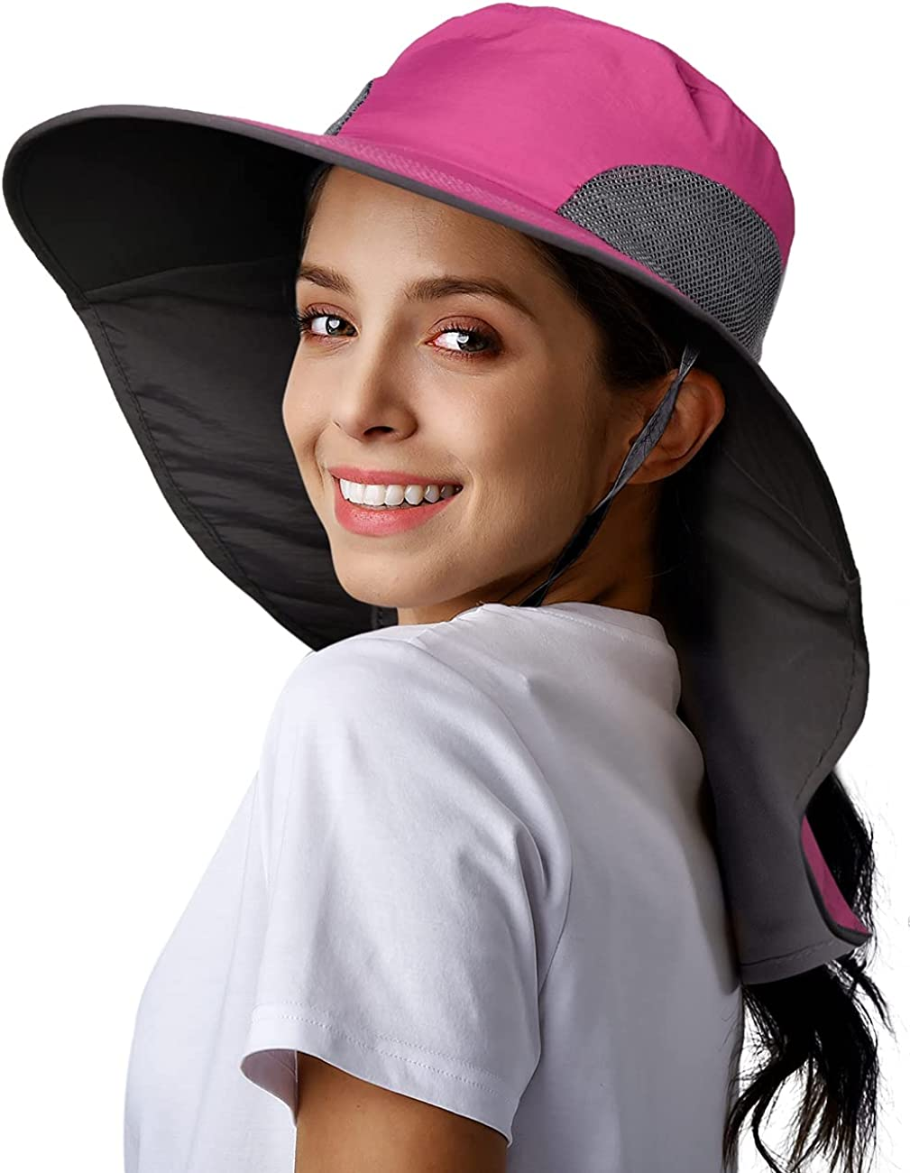 Womens Mens Hiking Fishing Hat Waterproof Nylon Wide Brim Hat with Large Neck Flap UPF 50+ Sun Protection Hats for Women&Men