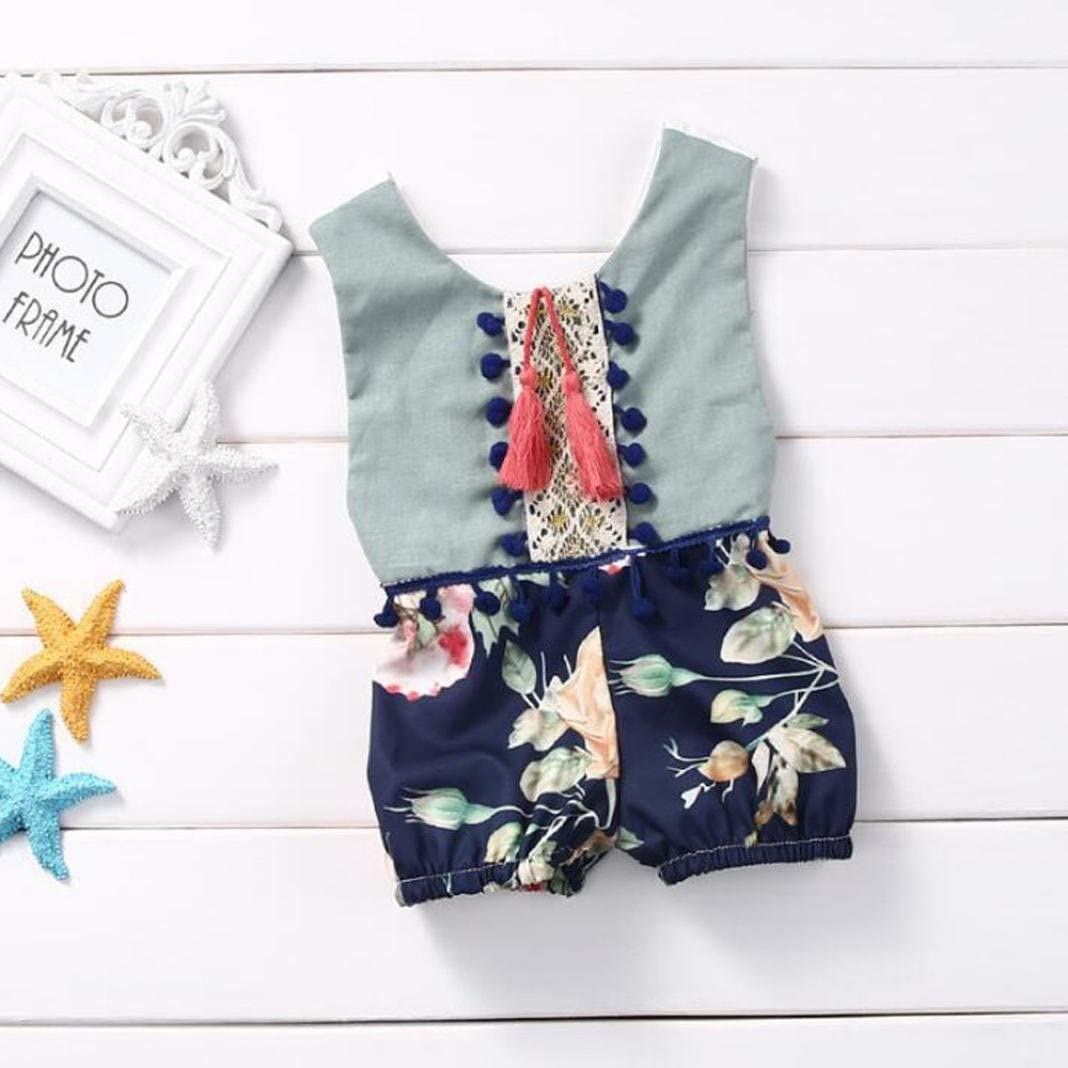 YJM Infant Baby Girl Boy Summer Sleeveless Romper Jumpsuit Floral Clothes Outfits