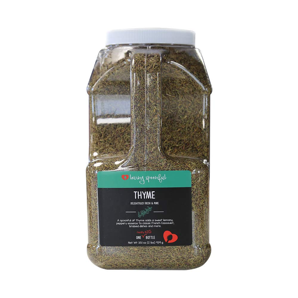 Loving Spoonful 33.1oz (939g) Premium Thyme Leaves | Food Service 2lb Bulk Size (Jug)