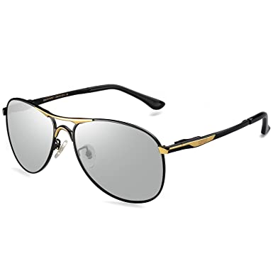 b10603735c71 Caponi Men Avaitor Polarized Photochromic Sunglasses Driving Transition to  Gray Lens RB8722 (Gold)