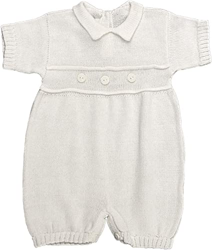 Babys Trousseau Short Sleeve Single Cable Knit Romper A951 White