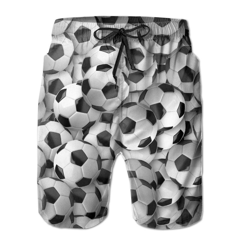 HFSST Soccer Balls Football Black and White Summer Swimming Trunks Beachwear Shorts