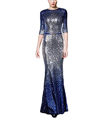 Womens Ombre Sequin Long Mermaid Evening Dresses With Sleeves Wedding Maxi Dresses 642 1/2