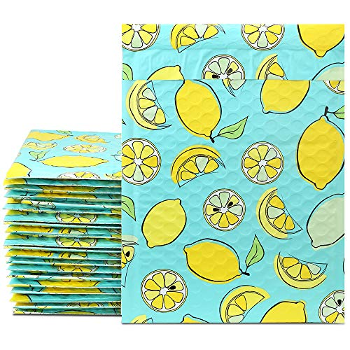 UCGOU 8.5x12 Inches Lemon Designer Poly Bubble Mailers Padded Envelopes Boutique Custom Bags Pack of 25Pcs