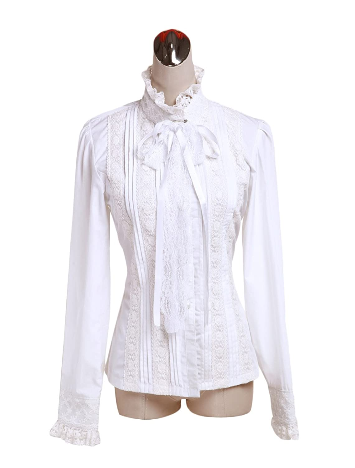 Cotton White Lace Ruffle Gothic Standing Collar Victorian Shirt Blouse $42.99 AT vintagedancer.com