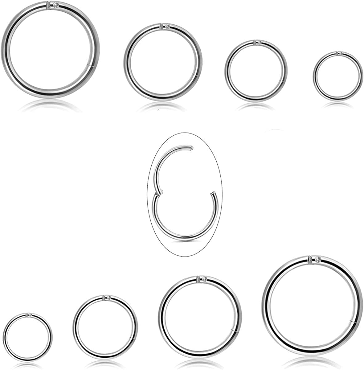 Jstyle 8Pcs 18G Stainless Steel Hinged Clicker Segment Nose Ring Hoop Piercing for Men Women Cartilage Daith Tragus Sleeper Earrings Improved Clasp 6-12MM