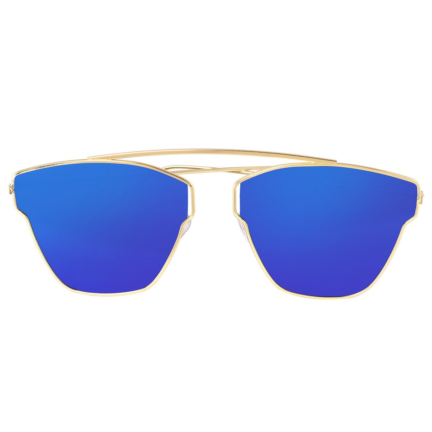 23267677cfd Dervin Blue Lens Golden Frame Wayfarer Sunglasses for Men and Women  Amazon. in  Clothing   Accessories