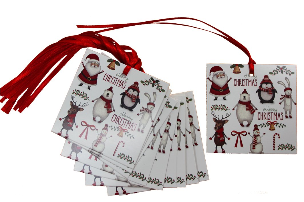Jaffa Imports 50 x CHRISTMAS CHARACTER Gift Tags & Tying Ribbon - XMAS Red White Santa Snowman Penguins Rudolph Gift Tags