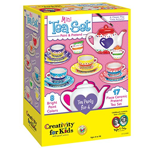 Creativity for Kids Mini Tea Set - Paint a Mini Tea Set for 4 - 17 Pieces -