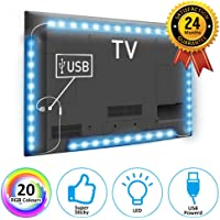 LED Strip Lights for 40-60 inch HDTV,TOP-MAX USB Powered PC TV Back Light with 20 colors and 19 dynamic modes 60 Pcs 5050 LEDS RGB Bias Lighting(2X40+2X60CM))