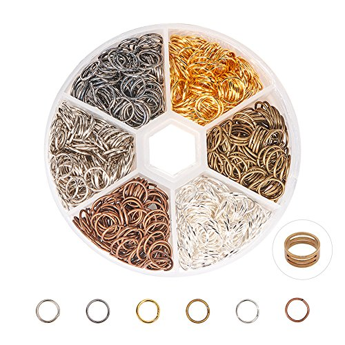 PandaHall Elite About 900 Pcs Iron Open Jump Rings Unsoldered 8mm Diameter Wire 21-Gauge 6 Colors for Jewelry Findings (Rings Open 8mm Jump)