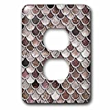 3dRose Uta Naumann Faux Glitter Pattern - Image of Sparkling Brown Luxury Elegant Mermaid Scales Glitter Effect - Light Switch Covers - 2 plug outlet cover (lsp_275445_6)