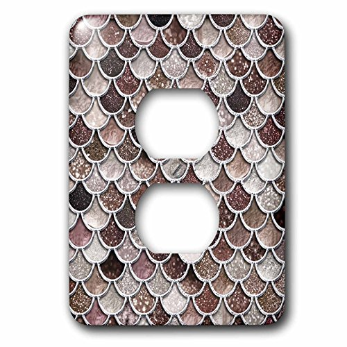 3dRose Uta Naumann Faux Glitter Pattern - Image of Sparkling Brown Luxury Elegant Mermaid Scales Glitter Effect - Light Switch Covers - 2 plug outlet cover (lsp_275445_6) by 3dRose