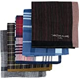 LEEVO Handkerchief Men Assorted Woven Cotton 100% Hankies Fashion 5pack Bulk Value Pack (17.5inch 5pack bulk no.2)