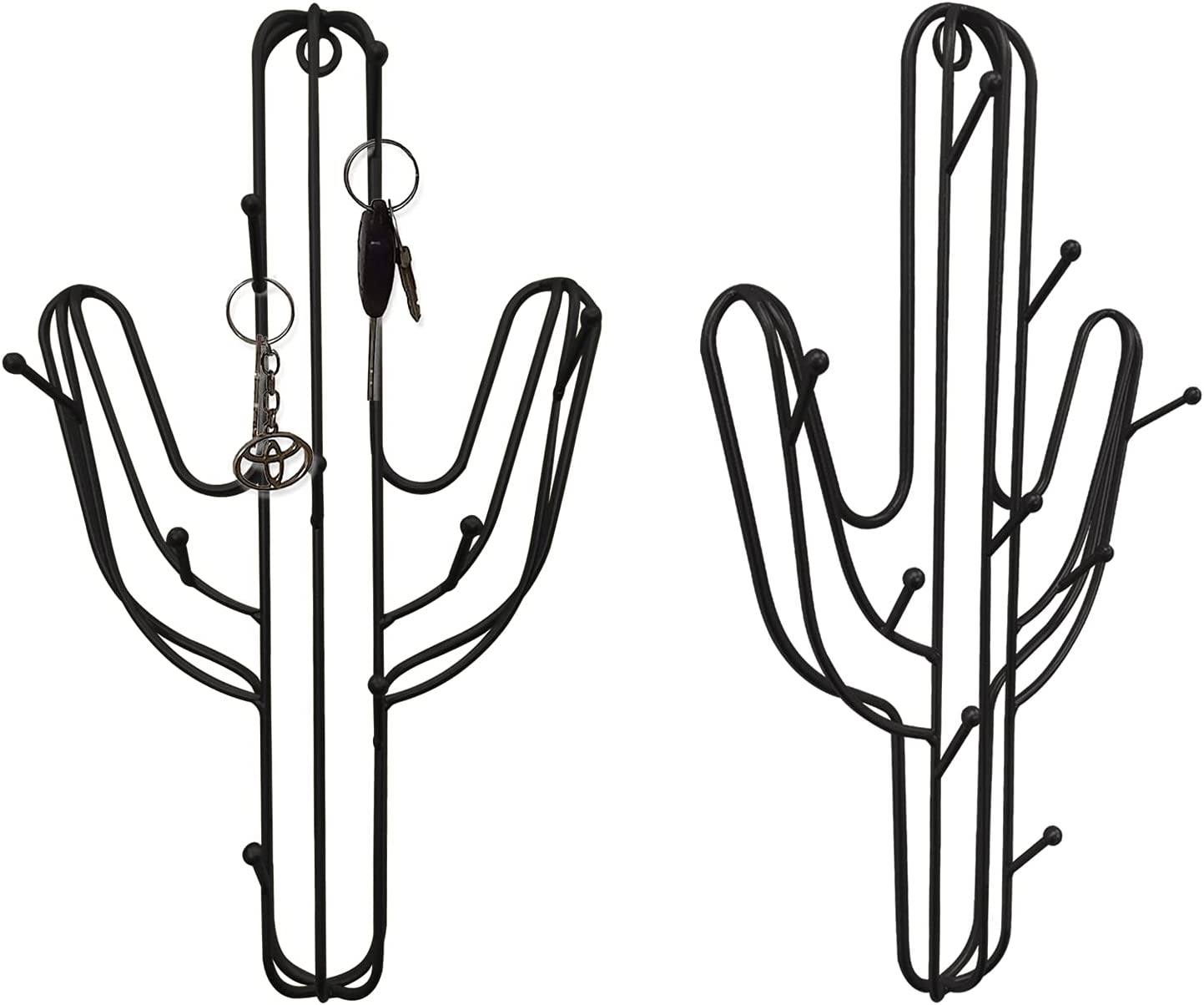 IROMAKN 9 Hooks Wall Mounted Key Holder Cactus Shape Decorative Metal Organizer Rack Wall Hangers with Screw Wall Decor Perfect for Entryway Mudroom Hallway Office