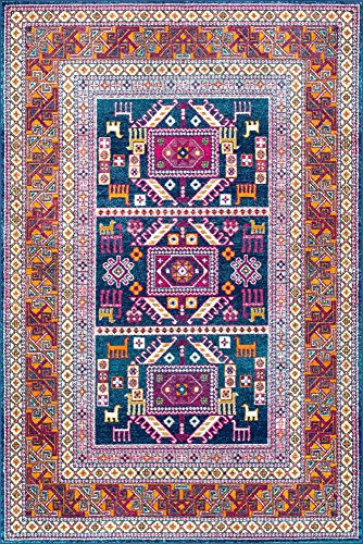 """nuLOOM Marisela Tribal Runner Rug, 2' 8"""" x 8', Navy - Features a Novelty design Construction: machine made Material is 100% polypropylene - runner-rugs, entryway-furniture-decor, entryway-laundry-room - 61uzRXCxU9L -"""