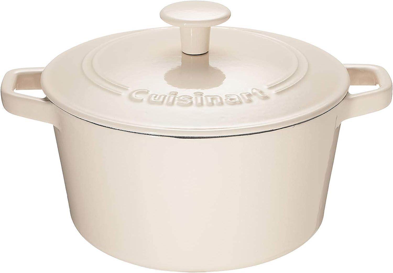 Cuisinart Chef's Classic Enameled Cast Iron 3-Quart Round Covered Casserole, Enameled Cream
