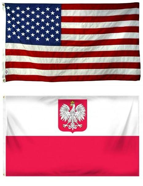 3fe83030ff77 2 x3  Wholesale Combo USA American   Poland Polish Eagle Super Polyester  Nylon Flags