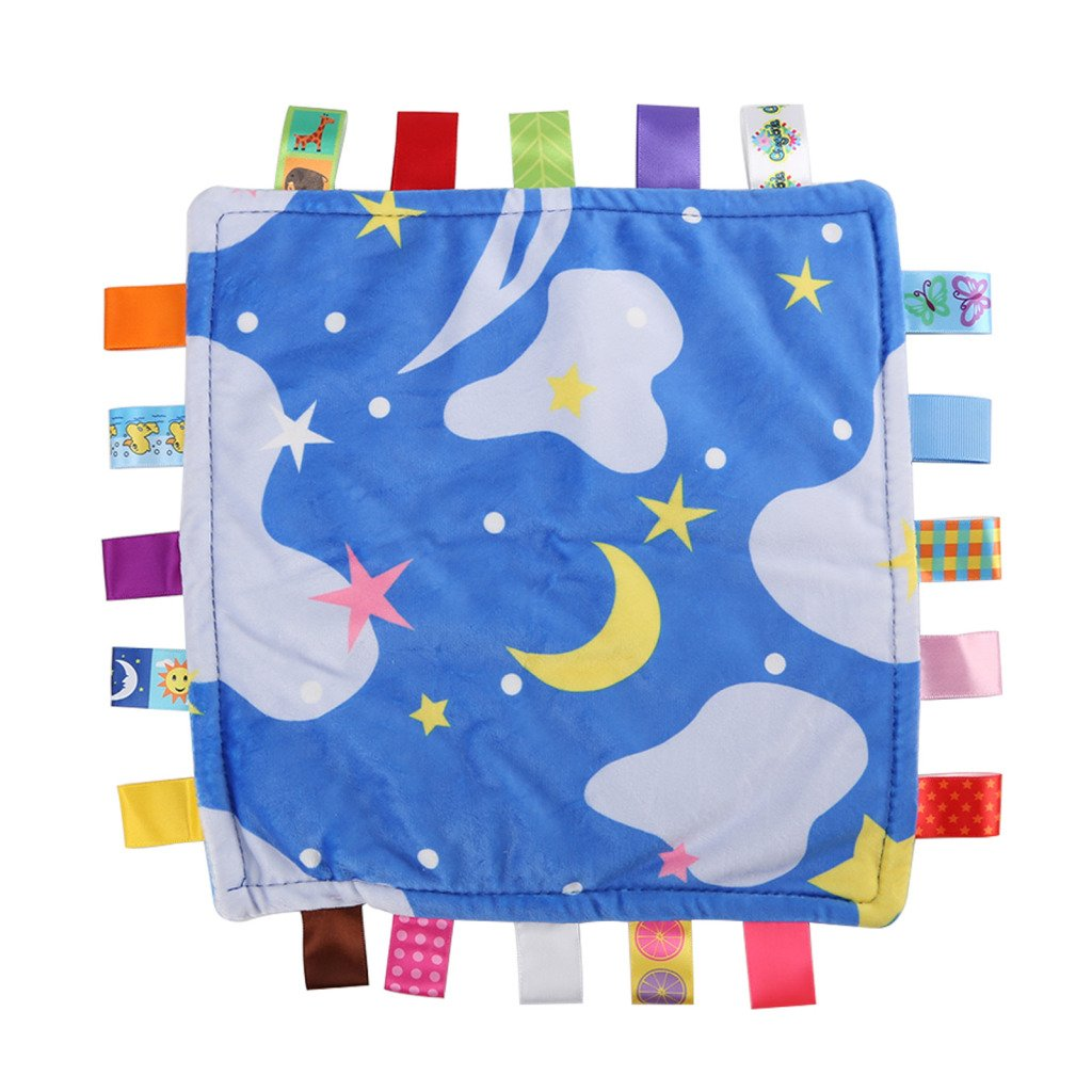 Shoze Baby Taggy Blanket Soft Touch Bundle Fleece Plush Colourful Security Comfortable Taggie Presant Blue Star SD