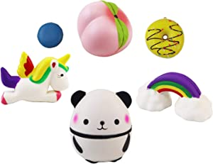 6pcs Unicorns Cartoon Fruits Food Assorted Squishy Sets Sweet Scented Stress Relief Toys or Slow Rising Squishy Toys for Kids Charms Mixed