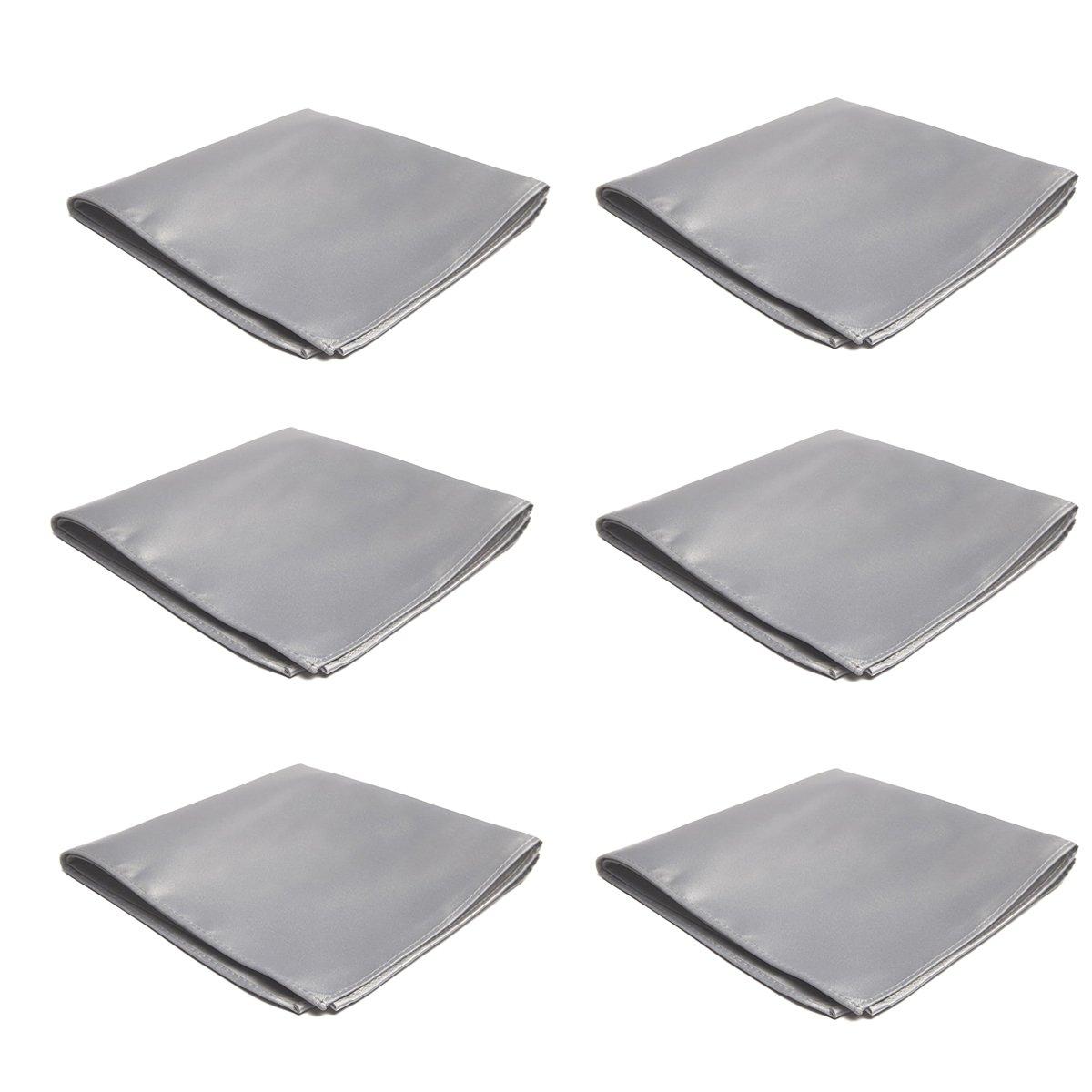 Mens Pocket Squares Handkerchief 6 PK Wedding Party Solid Color Handkerchiefs (Silver)