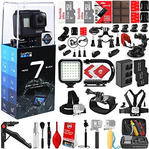 GoPro HERO7 Black 4K 12MP Digital Camcorder w/ 64GB - 42PC Sports Action Bundle (2X 32GB Micro SD Cards, 3 Batteries, Rapid AC/DC Charger, High Power LED Light, X-Grip Stabilizing Handle & More)