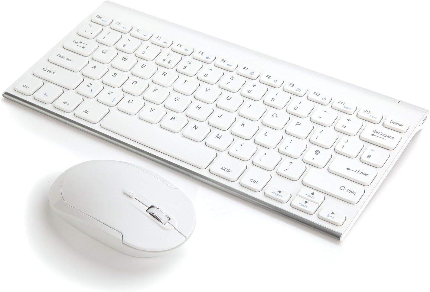Jelly Comb - Teclado y ratón inalámbricos USB, Teclado Ultrafino (Recargable) y ratón inalámbrico de 2,4 G para PC/Tableta/portátil/Ordenador/Smart TV, Windows/Linux/iMac, Color Blanco: Amazon.es: Electrónica