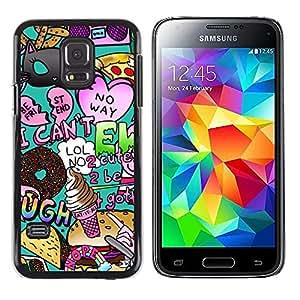 FlareStar Colour Printing Pop Art Random Modern Heart Teal cáscara Funda Case Caso de plástico para Samsung Galaxy S5 Mini / Galaxy S5 Mini Duos / SM-G800 !!!NOT S5 REGULAR!
