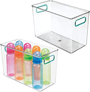 mDesign Deep Storage Organizer Container Bin with Handles for Kids Supplies in Kitchen, Pantry, Nursery, Bedroom, Playroom - Holds Snacks, Bottles, Baby Food - 2 Pack - Clear/Blue