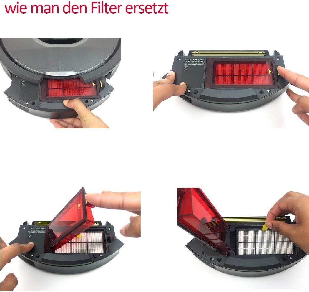 Filtro Hepa de Poweka piezas aptas para Roomba 870 800 805 850 860 861 866 880 890 960 961 964 980 aspiradora robot serie 800 y 900 con cepillo de limpieza gratuito