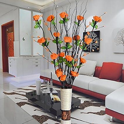 ShiQi Rosas Naranjas Flores artificiales adornos Saln con Jarrn