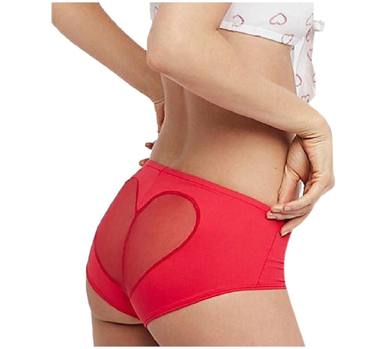 Abetteric Women's Low Waist Heart See-Through Underwear Panties Bikini