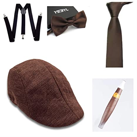 thematys® Sombrero mafioso Al Capone + Pajarita + Tirantes + Corbata + Cigarro - Disfraz de los años 20 para Dama y Caballero Carnaval (8)