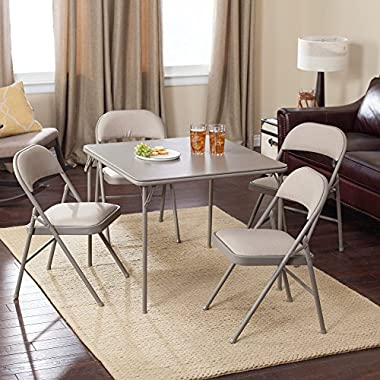 Meco Sudden Comfort Deluxe Double Padded Chair and Back- 5 Piece Card Table Set - Chickory Dune