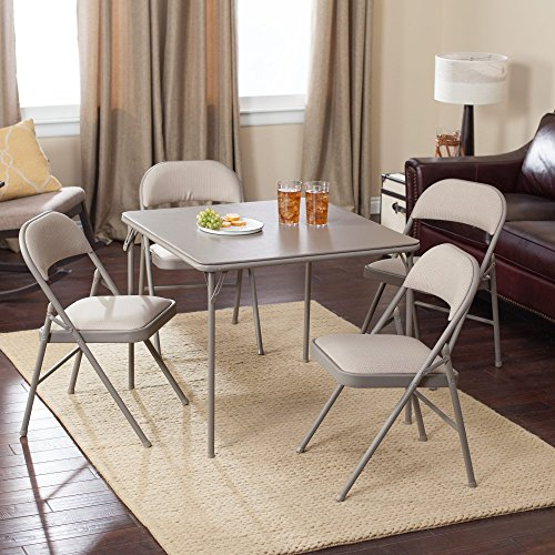 MECO Sudden Comfort Deluxe Double Padded Chair and Back – 5 Piece Card Table Set – Chickory Dune