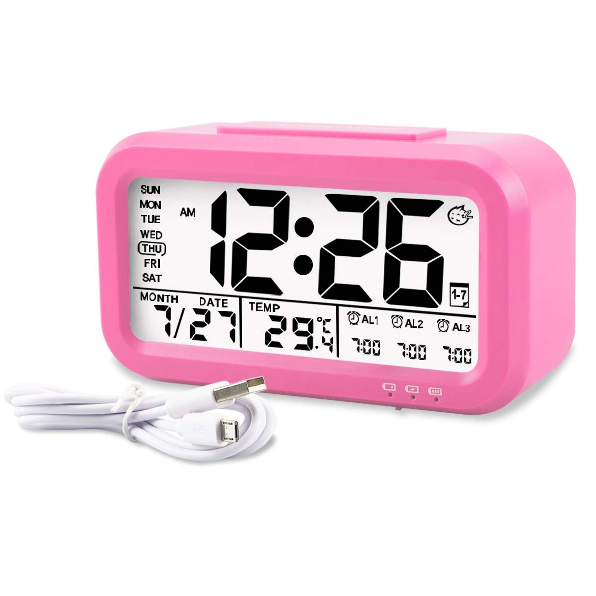 Aitey Alarm Clock, Digital Alarm Clock for Kids, Time/Date/Temperature Display, Snooze Function, 3 Alarms, Optional Weekday Mode, USB Charging (Pink)